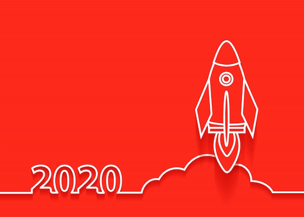 Vector 2020 new year rocket launch, startup business idea concept design