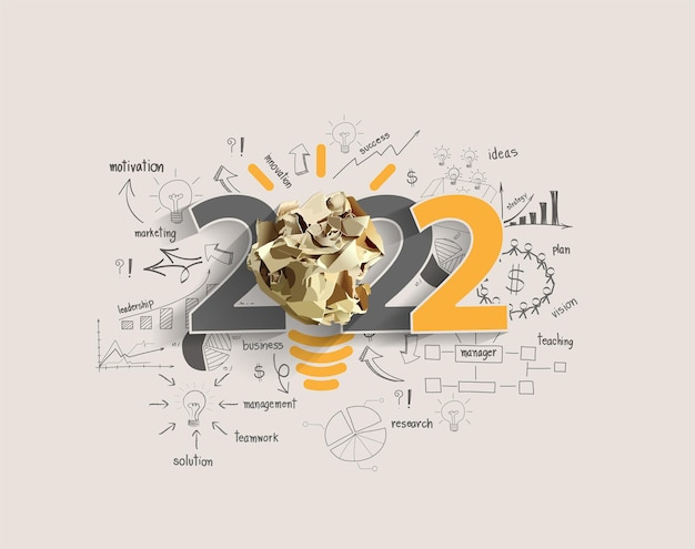 Vector 2022 new year with creativity inspiration crumpled paper ball light bulb ideas concept design, with drawing charts and graphs business success strategy plan