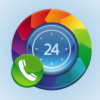 Vector 24 hour support element - abstract rainbow concept with button