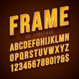 Vector 3d alphabet font with frame and shadow
