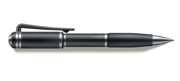Вектор 3d шариковая ручка макет канцелярские дизайн