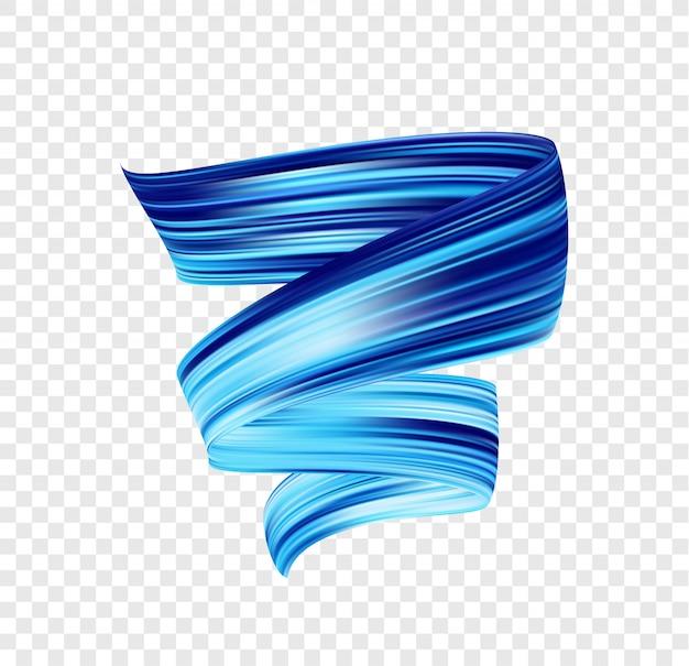 Vector 3d blue colored brush stroke oil or acrylic paint. color flow. wave liquid shape.