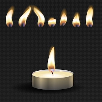 Vector 3d burning realistic candle light or tea light and different flame of a candle icon set