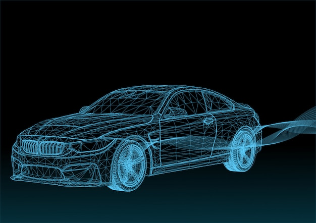 Vector 3d cars with blue stripes
