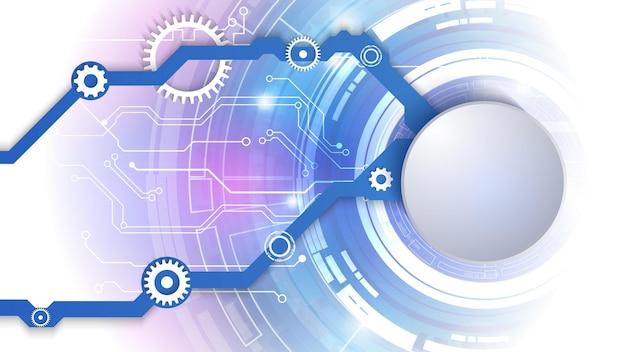 電気回路と紙の円のベクトル3dデザイン。ハイテクデジタルネットワーク、通信、ハイテク。 eps10。