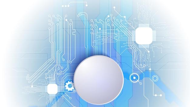 전기 회로와 종이 원의 벡터 3d 디자인. 첨단 디지털 네트워크, 통신, 첨단 기술. eps 10.