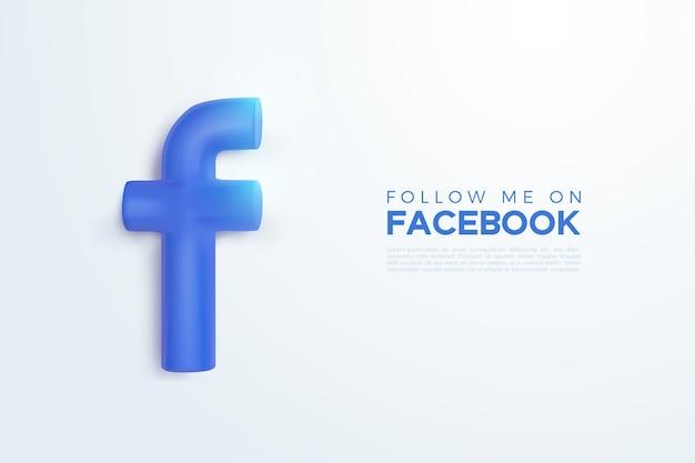 Вектор 3d логотип facebook в синем цвете