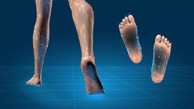 ベクトル3d女性の脚セット、青い背景で隔離の自信を持ってステップ