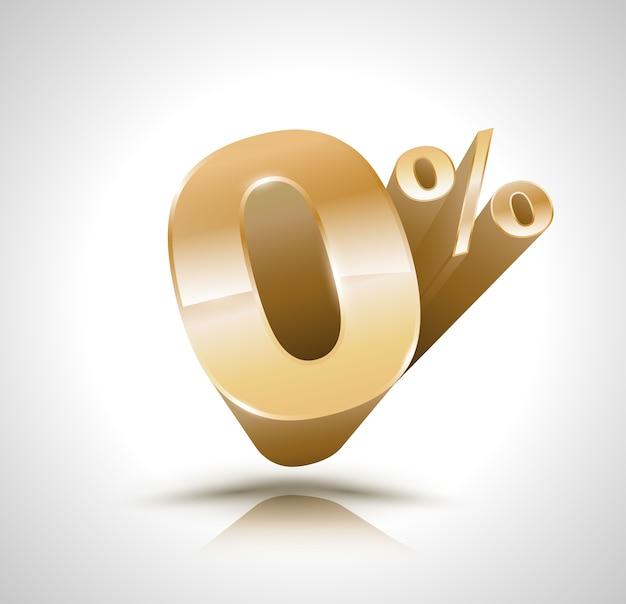 Вектор 3d золотой номер нулевой процент