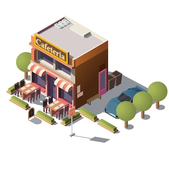 Vector 3d isometric cafeteria, restaurant with veranda