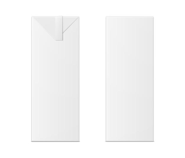 白い背景の上のミルクまたはジュースボックスのベクトル3dモックアップ。リアルなカートン1リットルパッケージが分離されました。あなたのデザインのテンプレート。正面図。