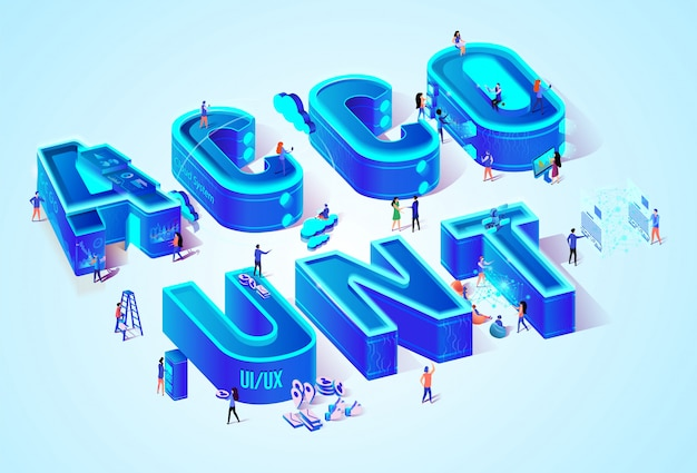 Vector 3d neon isometric word account and people