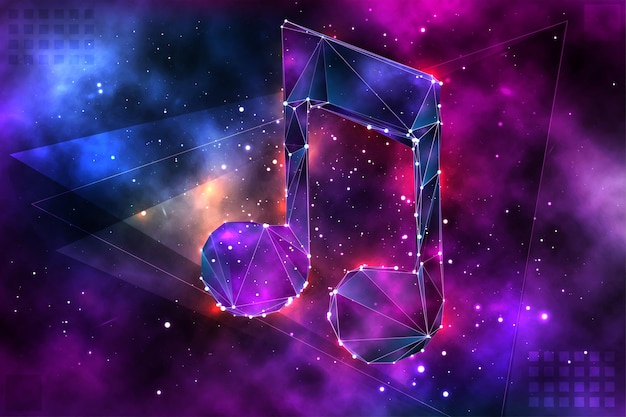 Vector 3d object on space background
