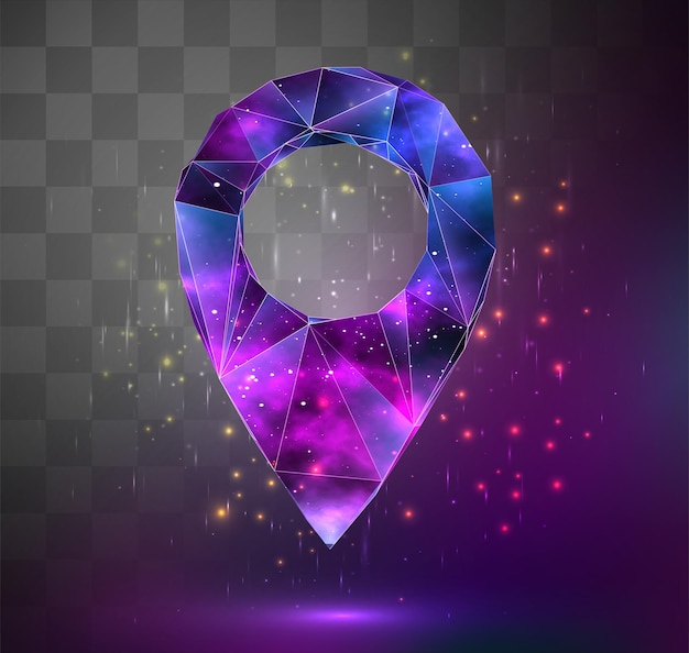 Vector 3d object on square mosaic background. space as an idea