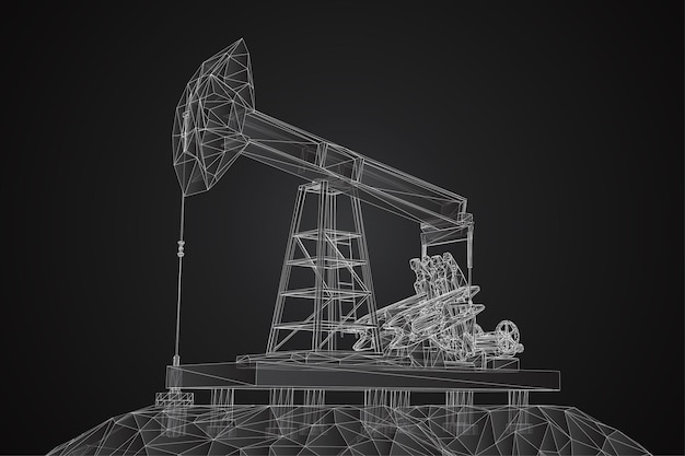 Vector 3d oil rigs from polygons and lines