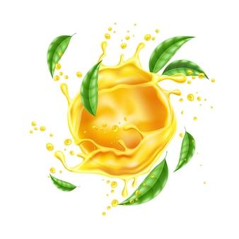 Вектор 3d всплеск апельсинового сока течет жидкость