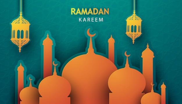 Vector 3d paper ramadan kareem
