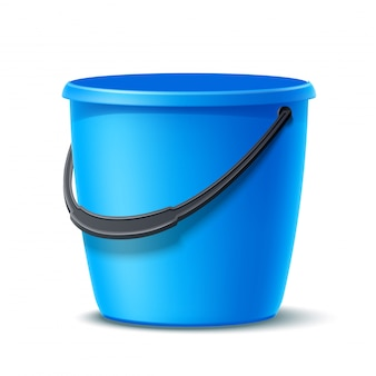 Vector 3d plastic bucket for washing, cleaning