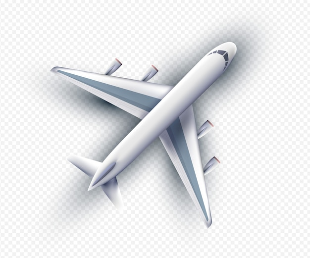 Vector 3d realistic airliner, top view. realistic plane isolated with transparent shadows, top view. vector eps10
