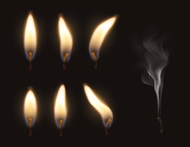 Vector 3d realistic candle fire flame set burning and extinguished with smoke