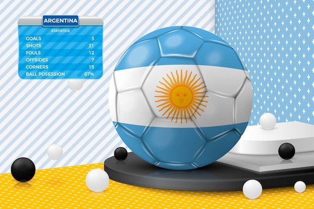 코너 벽 장면에서 분리된 아르헨티나 국기 점수판이 있는 벡터 3d 실제 축구 공