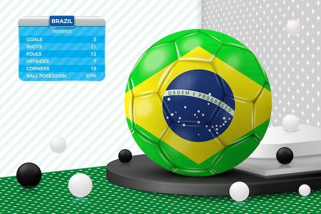 Vector 3d realistic football ball with brazil flag scoreboard isolated in corner wall
