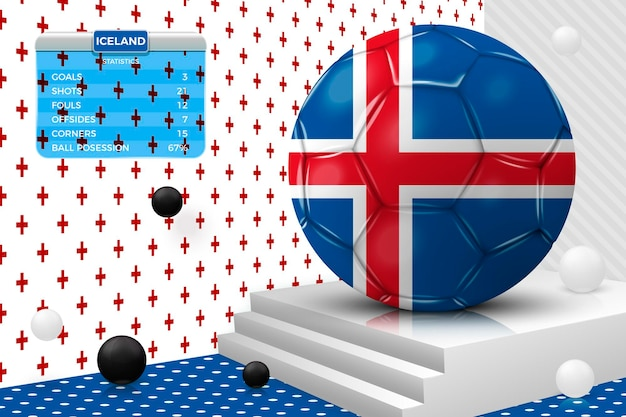 Vector 3d realistic football ball with iceland flag, scoreboard, isolated in corner wall abstract scene with podium, white and black objects.