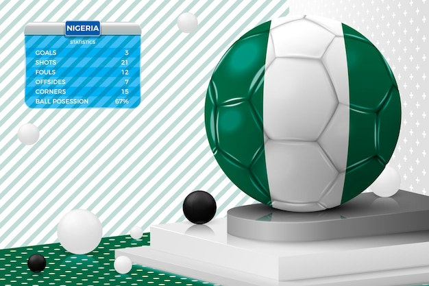 Vector 3d realistic football ball with nigeria flag scoreboard isolated in corner wall