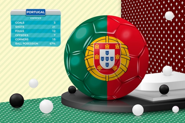Vector 3d realistic football ball with portugal flag, scoreboard, isolated in corner wall abstract scene with podium, white and black objects.