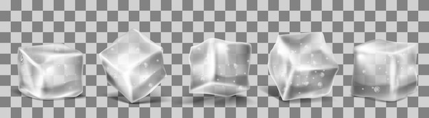 Vector 3d realistic ice cubes