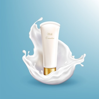 Vector 3d realistic milk cosmetic in white splashing isolated on blue background.
