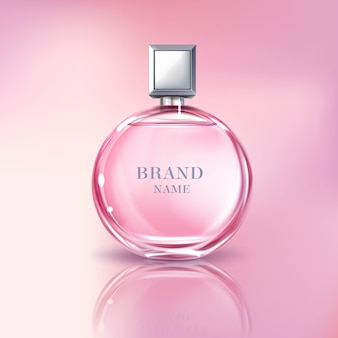 Vector 3d realistic perfume bottle for women. shiny glass container with pink liquid
