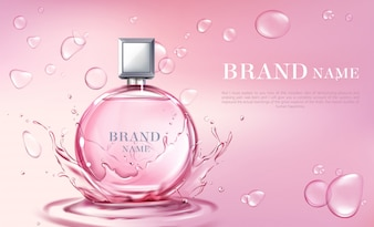 ベクトル3 dリアルなポスター、香水瓶とバナー