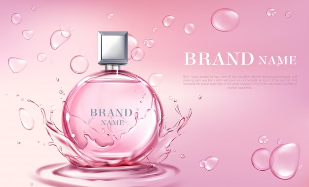 Vector 3d realistic poster, banner with perfume bottle