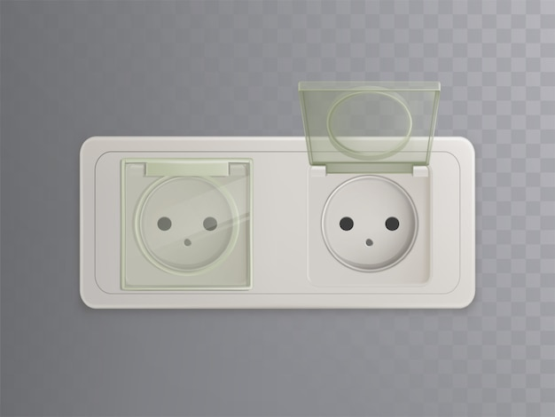 Vector 3d realistic power socket with plastic caps, covers for protection, child-proofed system