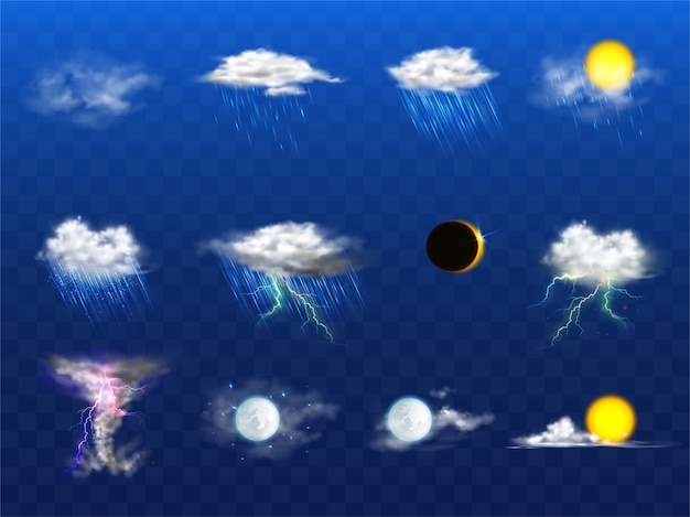 Vector 3d realistic set with weather forecast elements
