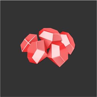 Векторные 3d красные наградные алмазы для игры