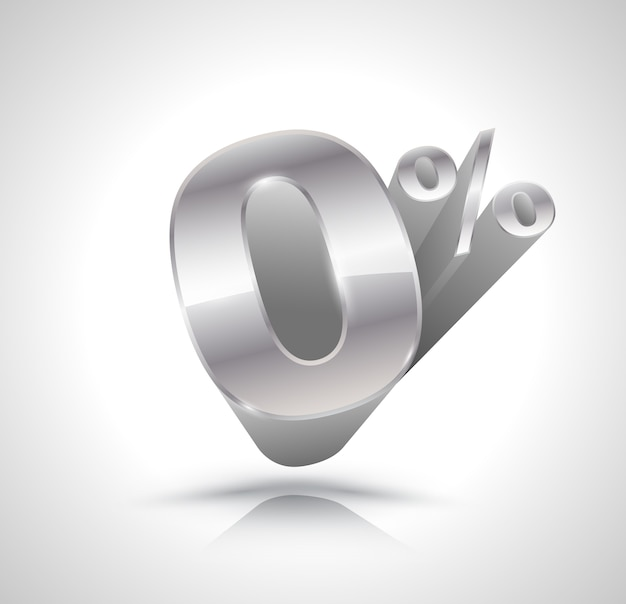 Vector 3d silver number zero percent