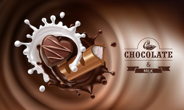 Vector 3d splashes of melted chocolate and milk with falling piece of chocolate bar and candy