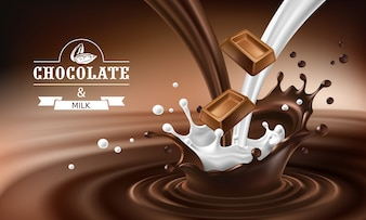 Vector 3D splashes of melted chocolate and milk with falling pieces of chocolate bars.
