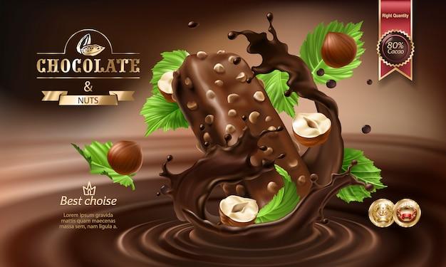 Векторные 3d брызги расплавленного шоколада и молока с падающими кусками шоколадных батончиков.
