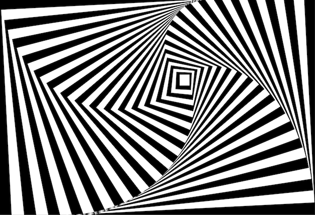 Vector of 3d  twisted black and white optical illusion