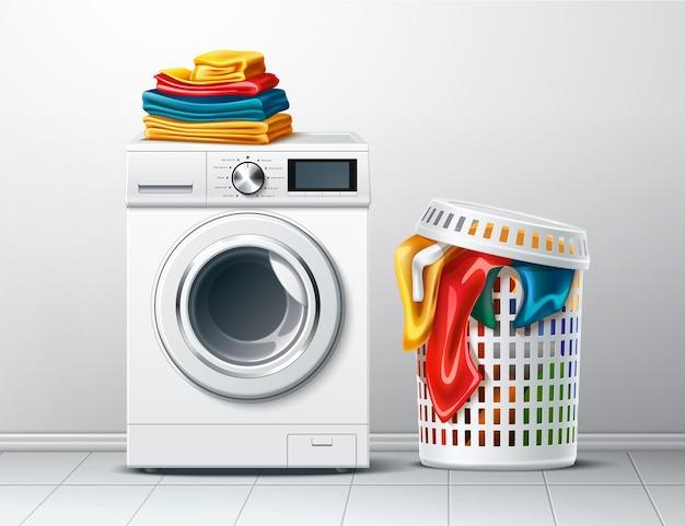 Вектор 3d стиральная машина и корзина для белья