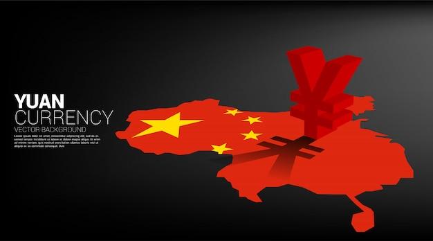 Vector значок 3d валюты юаней денег с тенью на карте фарфора. концепция для китая финансового и банковского дела.