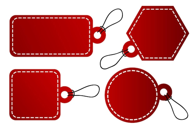 Vector 4 shape vector red gradient tag, white stitch border with black rope, isolated on white