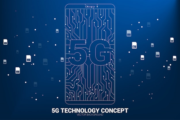 Vector 5g dot connect line circuit board style mobile phone icon. concept for data transfer of mobile data network.