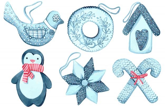 벡터, 크리스마스와 새해를위한 수채화 장난감 세트