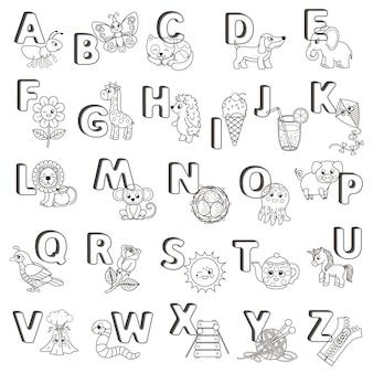 Векторный плакат abc. заглавные буквы английского алфавита с милыми мультяшными животными и вещами. раскраска для детского сада и дошкольного образования. карты для изучения английского языка