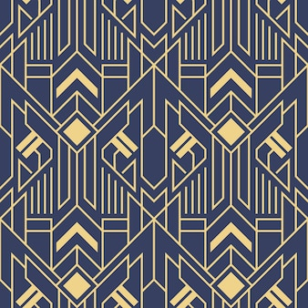 Vector abstract art deco modern geometric tiles blue color pattern