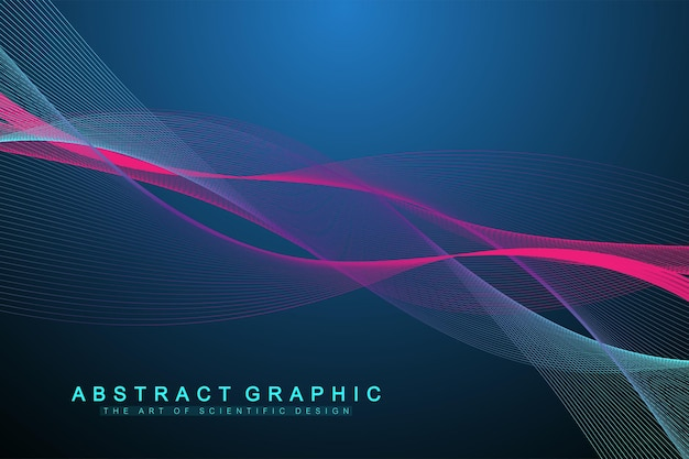 色付きの動的な波、線、粒子で抽象的な背景をベクトルします。波の流れ。デジタル周波数トラックイコライザー。